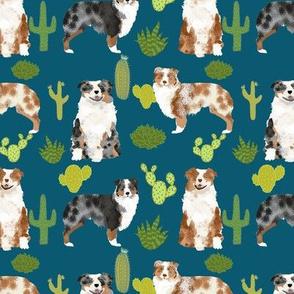 australian shepherds cactus fabric cute aussie dog fabric cactus design sweet aussies fabric best australian shepherds dogs