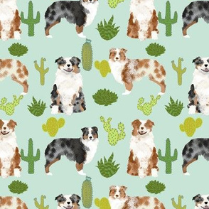 australian shepherds dog cute cactus fabric mint dogs blue merle red merle dog fabric cute aussie dog gift fabrics