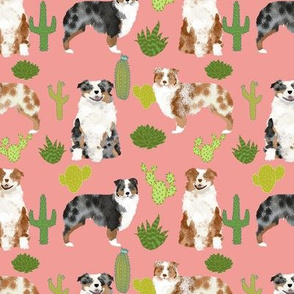 australian shepherds dogs cactus cute peach blush cactus design best dog fabric red merle aussie fabric blue merle fabrics
