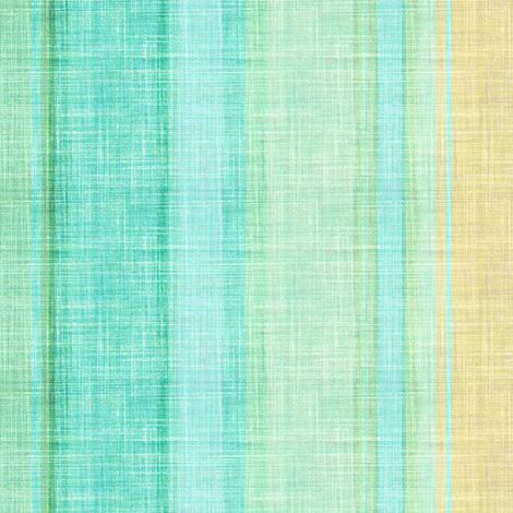 Doll Beach Stripe vertical faux linen in aqua fabric by joanmclemore on Spoonflower - custom fabric