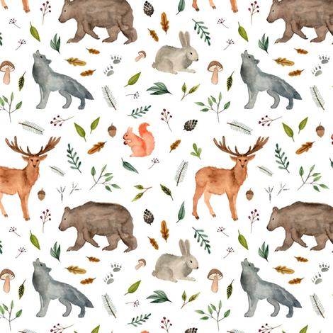 forest animals team less fabric by alenaganzhela on Spoonflower - custom fabric