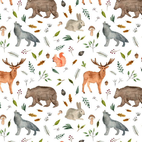 forest animals team less fabric by alenaganzhela on Spoonflower - custom fabric