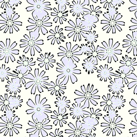 Cream and Sugar Daisies in lavender fabric by joanmclemore on Spoonflower - custom fabric