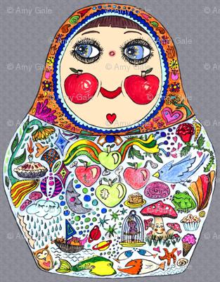 Aug2016Apples, Cheeks Like Apples matryoshka doll, large scale, gray grey colorful