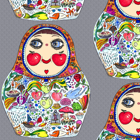 Aug2016Apples, Cheeks Like Apples matryoshka doll, large scale, gray grey colorful fabric by amy_g on Spoonflower - custom fabric