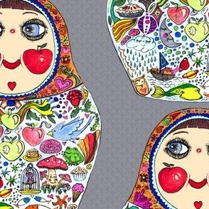 Aug2016Apples, Cheeks Like Apples matryoshka doll, large scale, gray grey colorful