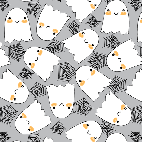 Halloween ghosts-and-webs-on-grey fabric by lilcubby on Spoonflower - custom fabric