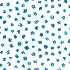 bright blue crayon polkadots