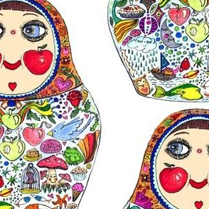 Cheeks Like Apples Russian Matryoshka doll, white colorful rainbow, large scale
