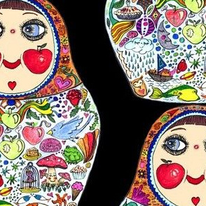 Cheeks Like Apples Russian Matryoshka doll, black colorful rainbow, large scale