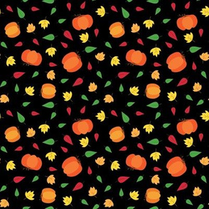 Pumpkins & Leaves - Black
