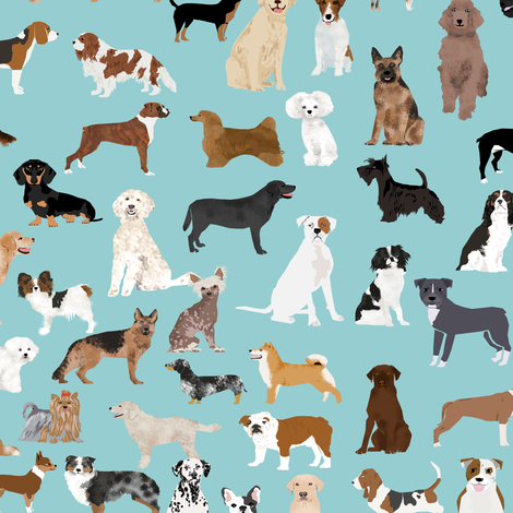 dogs light blue lots of breeds dog breed fabric cute dogs best dog fabric dog quilts dog gifts cute dog lover fabric fabric by petfriendly on Spoonflower - custom fabric