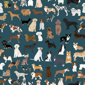 EXTRA LARGE dogs dark navy blue dog fabric lots of breeds cute dogs best dog fabric best dogs cute dog breed design dog owners will love this cute dog fabric
