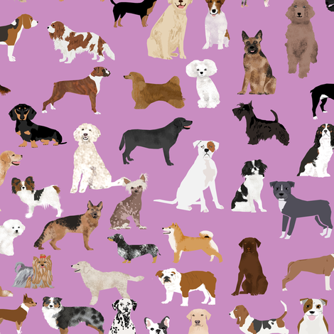dogs cute dog purple dog fabric best dog breed design dog person fabric dog lovers fabric cute dog quilting fabric fabric by petfriendly on Spoonflower - custom fabric
