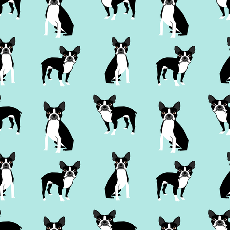 boston terriers mint cute dog fabric best dog design best light mint dog black and white nursery dog fabric fabric by petfriendly on Spoonflower - custom fabric