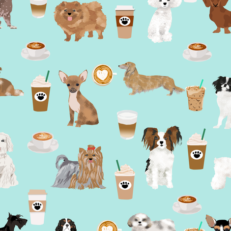 dogs and coffee fabric cute dog breed designs best dogs coffee latte cute dogs fabric with coffee fabric by petfriendly on Spoonflower - custom fabric