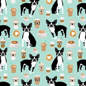 boston terrier dog dogs coffee fabric mint dog fabric sweet dogs fabric dog fabric