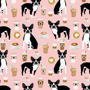 boston terrier pink coffees coffee dog fabric latte fabric cute bostons dog fabric best dog fabric latte