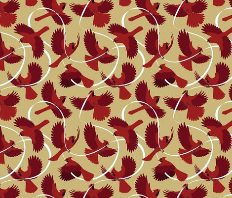 Cardinals on Beige fabric by jadafitch on Spoonflower - custom fabric