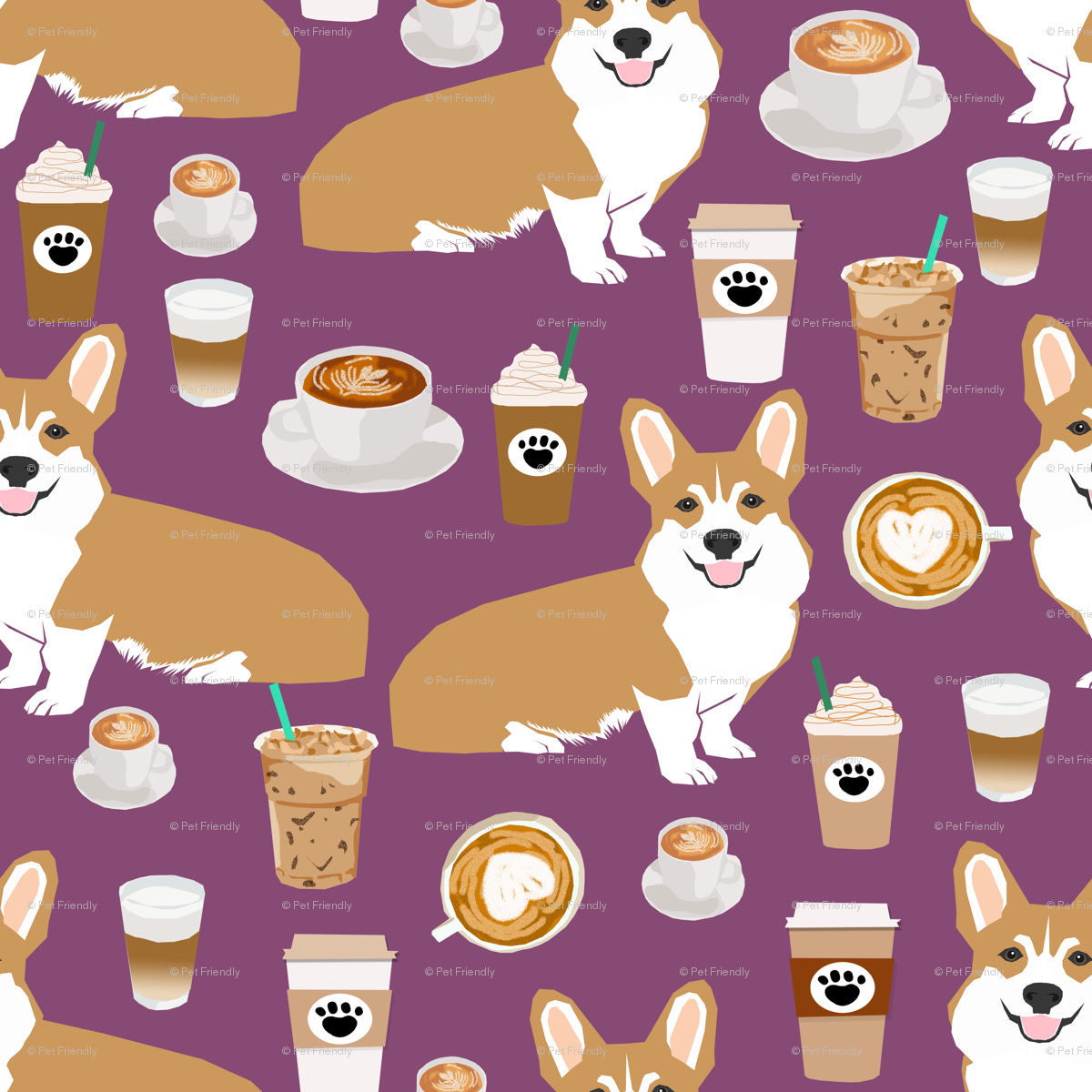 corgi coffee purple fabric cute coffee fabrics cafe latte corgis
