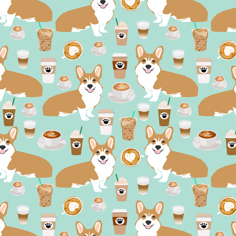 corgis and coffee mint latte fabric cute cafe fabric coffee fabrics cute mint cafe latte fabrics fabric by petfriendly on Spoonflower - custom fabric