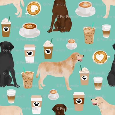 labradors coffee fabric cute mint cafe latte labrador retriever dogs fabric cute yellow lab design