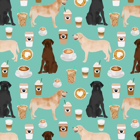 labradors coffee fabric cute mint cafe latte labrador retriever dogs fabric cute yellow lab design fabric by petfriendly on Spoonflower - custom fabric
