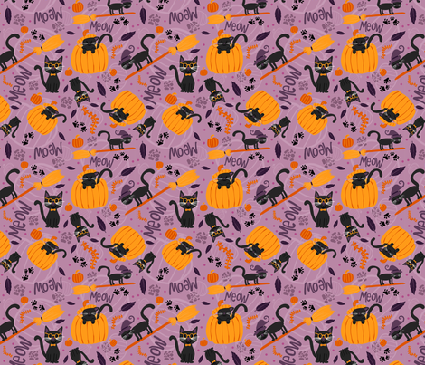 Halloween Cats fabric by emilycromwell on Spoonflower - custom fabric