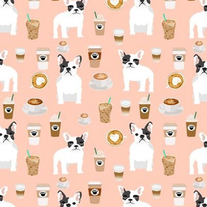 french bulldogs frenchie cute french bulldogs fabric coffee fabrics coffee latte blush cafe lattes fabric
