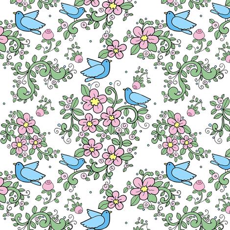 TK_Floral_Birds_-Black_PASTEL_PINK_Floral_BLUE_BIRDS fabric by doodledoer-teresakelly on Spoonflower - custom fabric