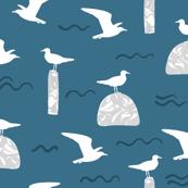 Beach Gulls Blue