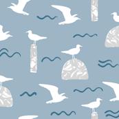 Beach Gulls Pale Blue