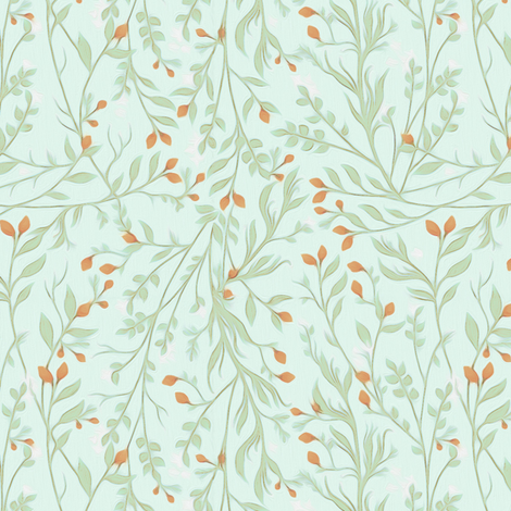 Tangled Autumn Vine Pumpkin Flowers_A101 fabric by thistleandfox on Spoonflower - custom fabric