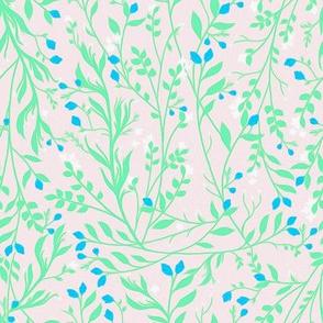 Tangled Mint Vine Blue Blossom C101