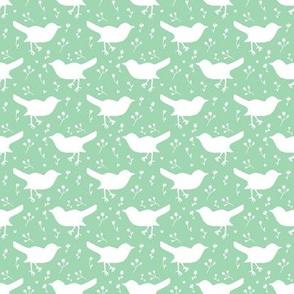 Bird White Green Floral