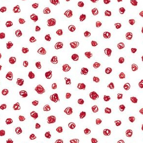 cranberry red crayon polkadots
