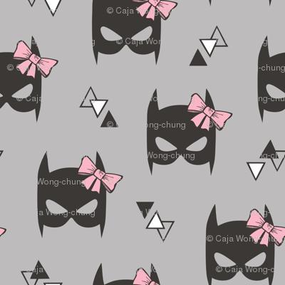 Girly Geometric Plain Black Bat Mask with Pink Bow on Grey