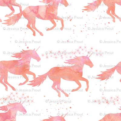 watercolor unicorns in peach (small scale)