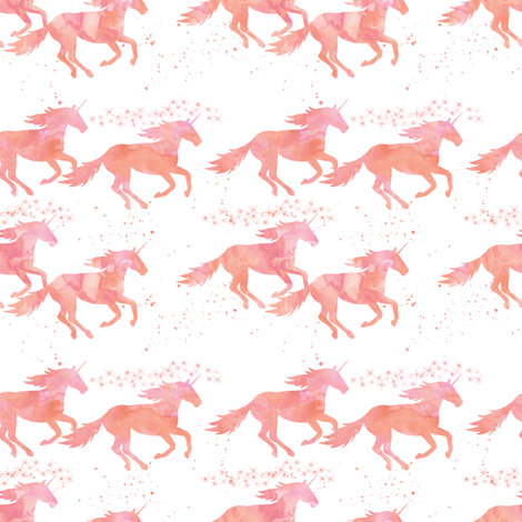 watercolor unicorns in peach (small scale) fabric by littlearrowdesign on Spoonflower - custom fabric