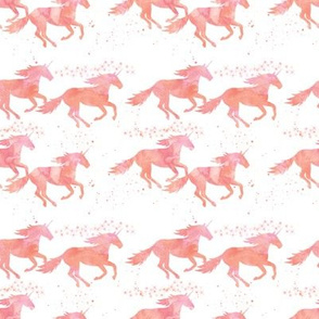 watercolor unicorns in peach (small scale)
