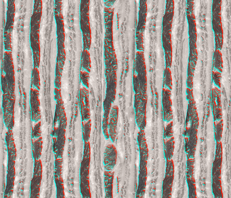 Retro 3D Bacon Slab Anaglyph fabric by xoxotique on Spoonflower - custom fabric