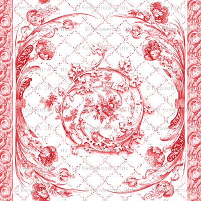 engraved tulips china red