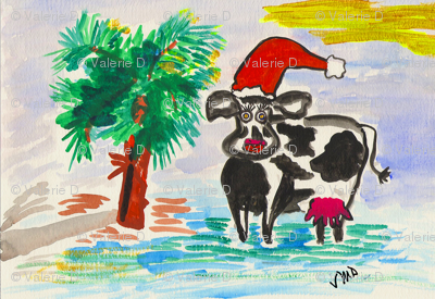 Palm Christmas Cow