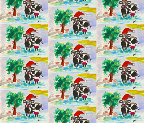 Palm Christmas Cow fabric by valerie_dortona on Spoonflower - custom fabric