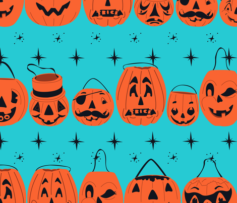 Trick or Treat Smell My Feet Lg Scale-Turquoise fabric by halloweenhomemaker on Spoonflower - custom fabric