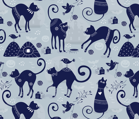 Cats and Raven-2 fabric by grace_andersson on Spoonflower - custom fabric