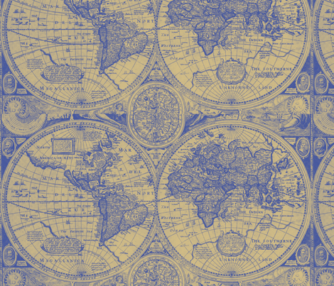 Antique Blue and Gold map fabric by aftermyart on Spoonflower - custom fabric