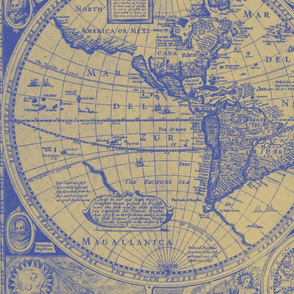 Antique Blue and Gold map