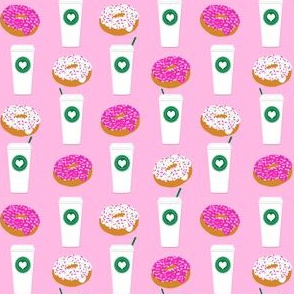 pink coffee donuts cute coffee donuts coffee fabric