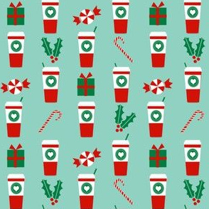 peppermint latte small cute christmas fabric candy cane coffees holly cute